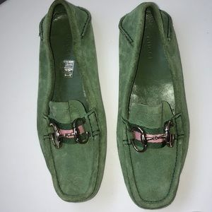 Gucci Green Suede Horsebit Driving Loafer Size 6